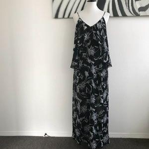 Flirty Cold Shoulder Floral Maxi Dress